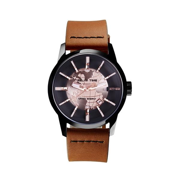 【Relax Time】人動電能系列地球立體時標時尚機械腕錶-香檳金/RT-62K-7/台灣總代理公司貨