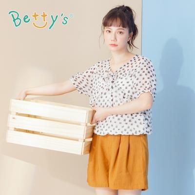 betty's貝蒂思 荷葉鬆緊腰寬褲口短褲(駝色)