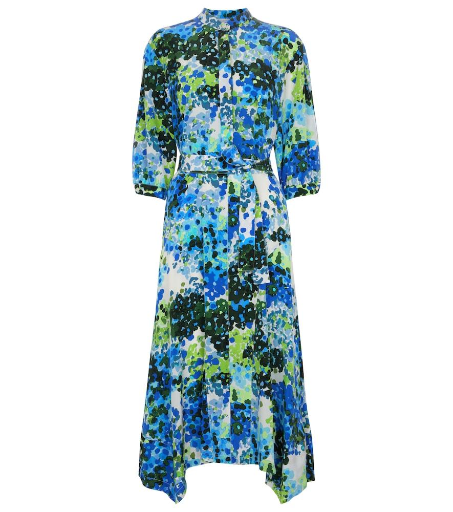 Olivia floral silk shirt midi dress
