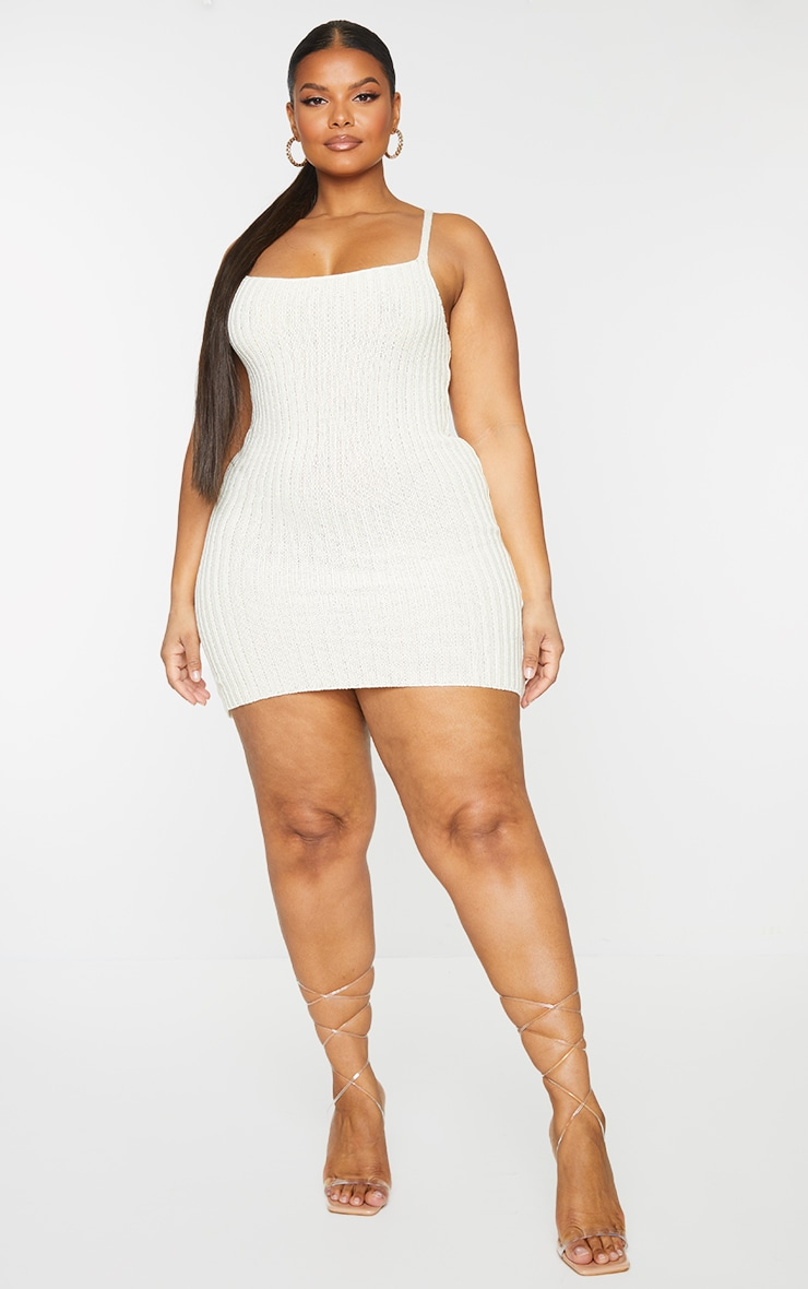 Plus Cream Knitted Bodycon Dress