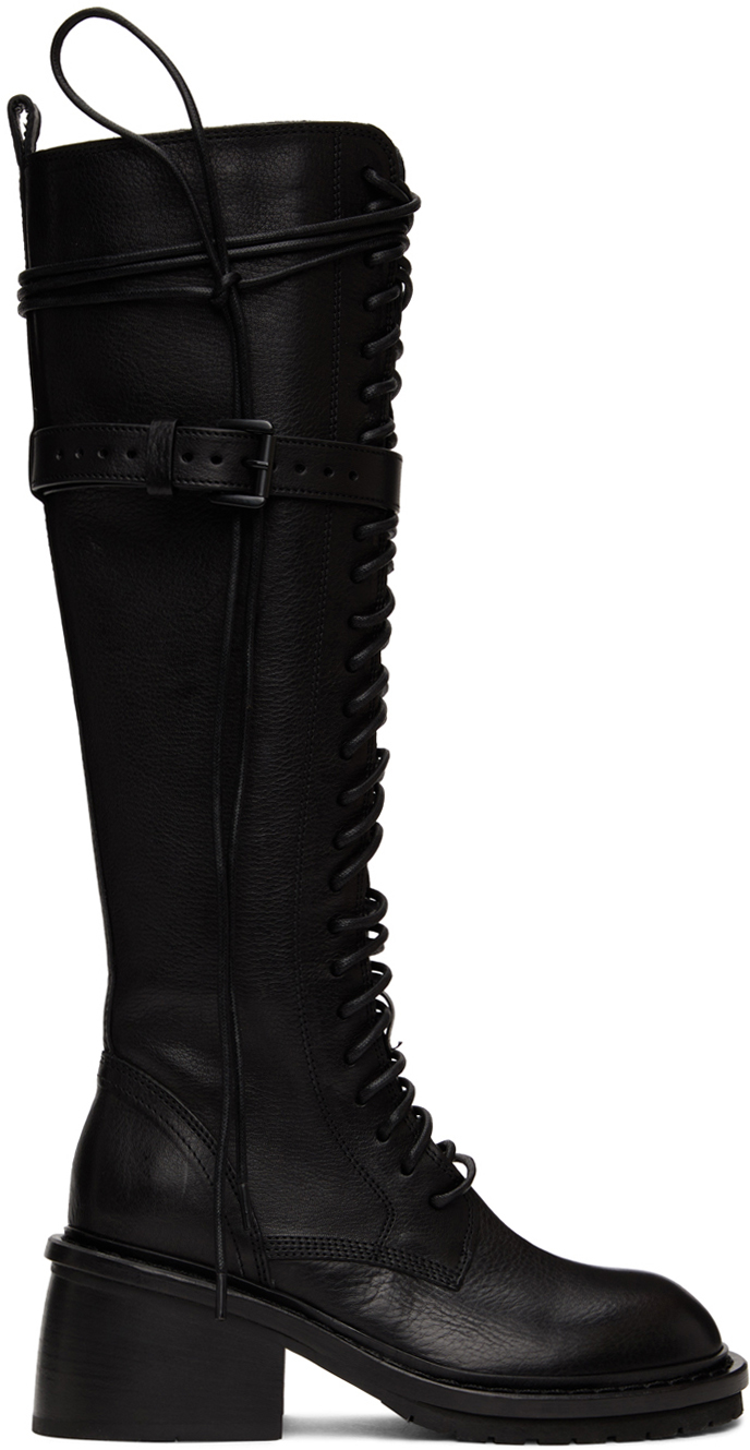 Ann Demeulemeester 黑色系带高筒靴