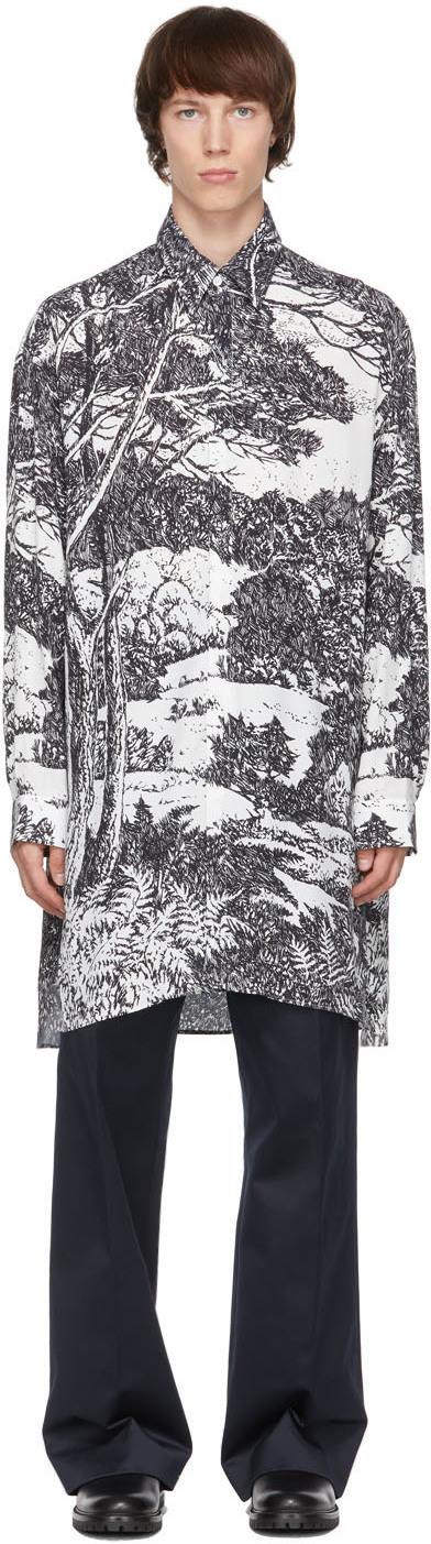 Uniforme 黑色 & 白色大廓形印花衬衫