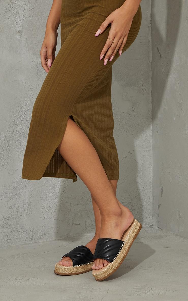 Black Quilted Mule Flatform Espadrille Sandals