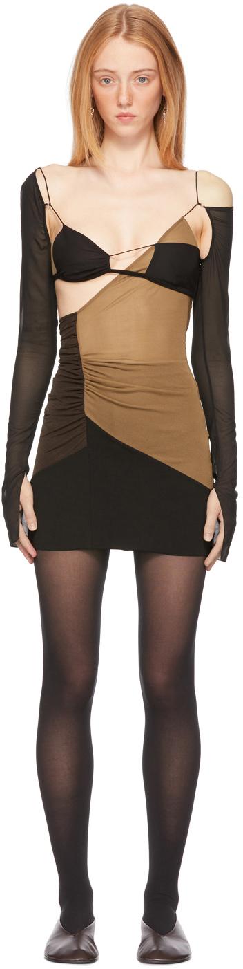 Nensi Dojaka SSENSE 独家发售棕色 & 黑色 Cut-Out 连衣裙