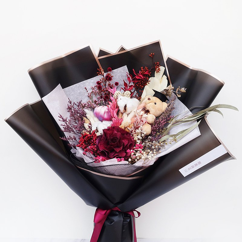 【蛻變】畢業花束/ 情人花束/ 乾燥花束/ 畢業熊 / 紅色
