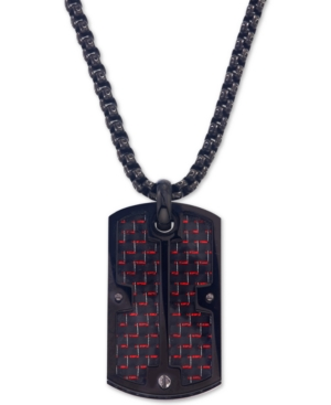 Esquire Men's Jewelry Dog Tag Pendant Necklace in Red Carbon Fiber and Black Ip Stainless Steel, Cre