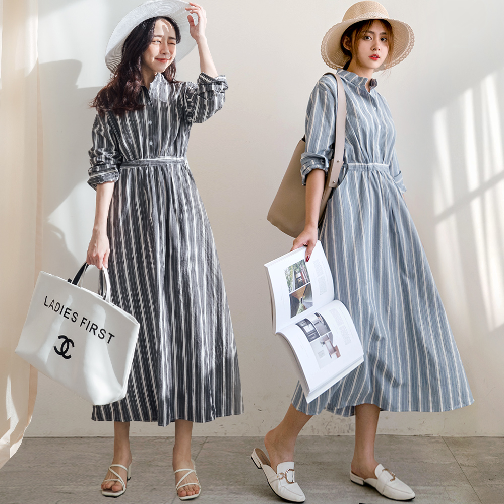 MIUSTAR 交錯寬細直條腰綁帶棉麻洋裝(共2色)連身裙 長袖洋裝 0302 預購【NJ0588】