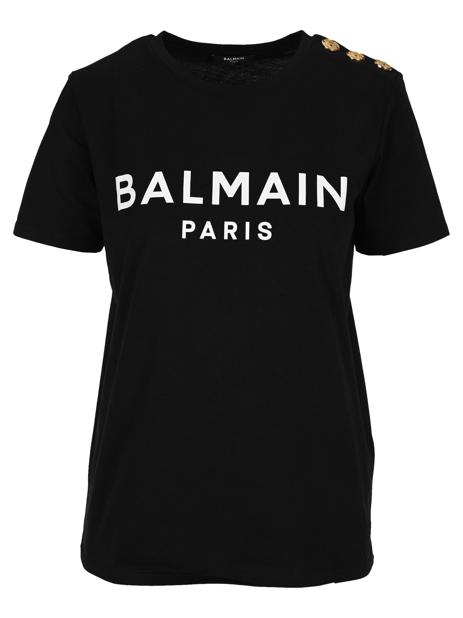 Balmain Logo-print Button T-shirt