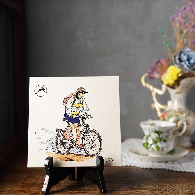 1960荷蘭登山客自行車主題瓷磚掛飾