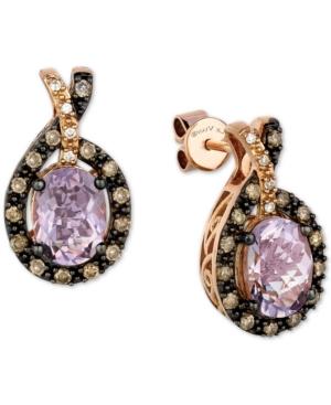 Le Vian Cotton Candy Amethyst (2-1/5 ct. t.w.) & Diamond (1/3 ct. t.w.) Halo Stud Earrings in 14k Ro