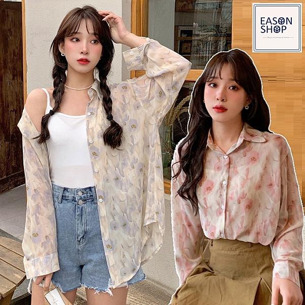 EASON SHOP(GQ1524)韓版復古花朵落肩寬鬆透視薄排釦開衫長袖雪紡襯衫外套罩衫防曬空調衫女上衣外搭
