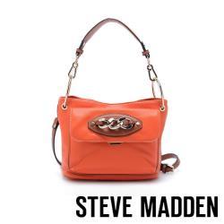 STEVE MADDEN-BADLEY 皮質飾扣方形肩背斜兩用包-亮橘色