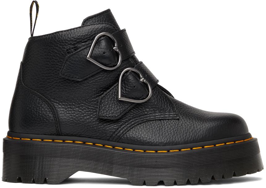 Dr. Martens 黑色 Devon Heart 踝靴