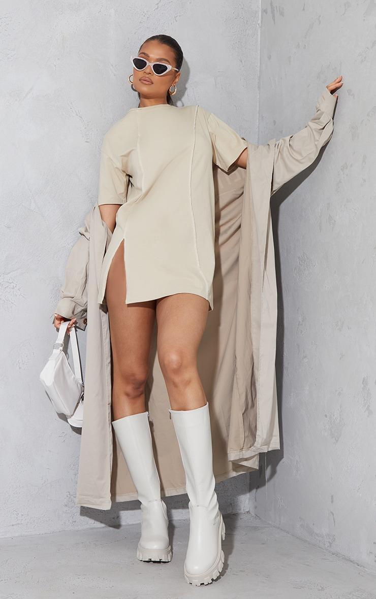 Stone Cotton Contrast Binding Detail Split Hem T Shirt Dress