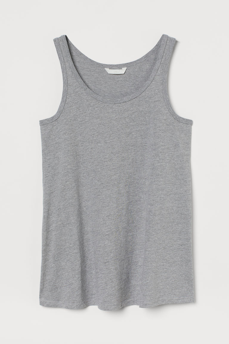 H & M - MAMA 棉質背心上衣 - 灰色