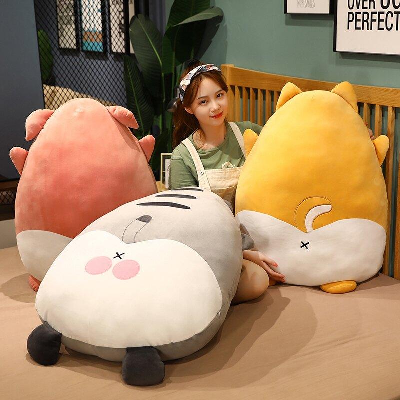 柯基屁股毛絨玩具可愛辦公室抱枕坐墊靠墊玩偶布娃娃公仔兒童禮物