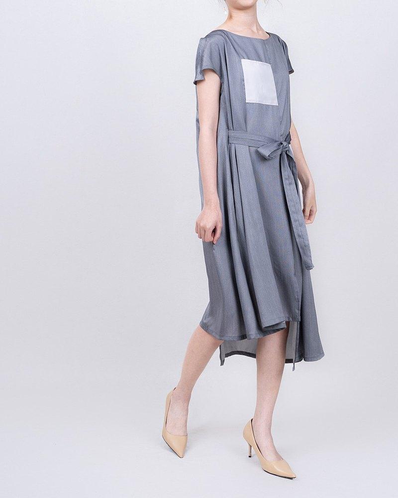 經典款  2.0 小衩袖復古腰身洋裝-銀箔灰