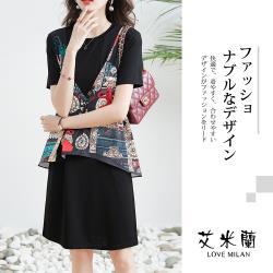 【艾米蘭】韓版時尚個性圓領拼接造型洋裝(M-XL)