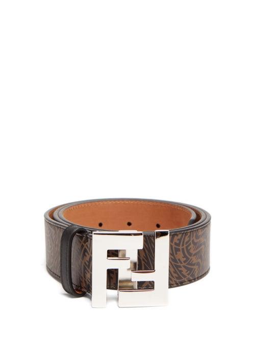 Fendi - Vertigo Ff-print Leather Belt - Mens - Brown Multi