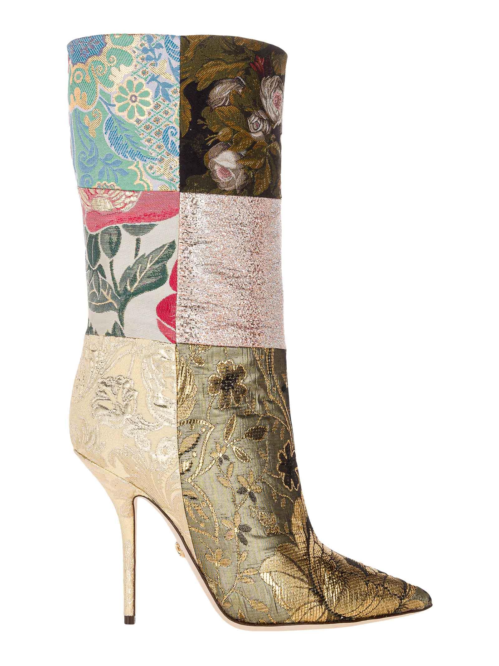 Dolce & Gabbana Dolce & gabbana Patchwork Fabric Ankle Boots