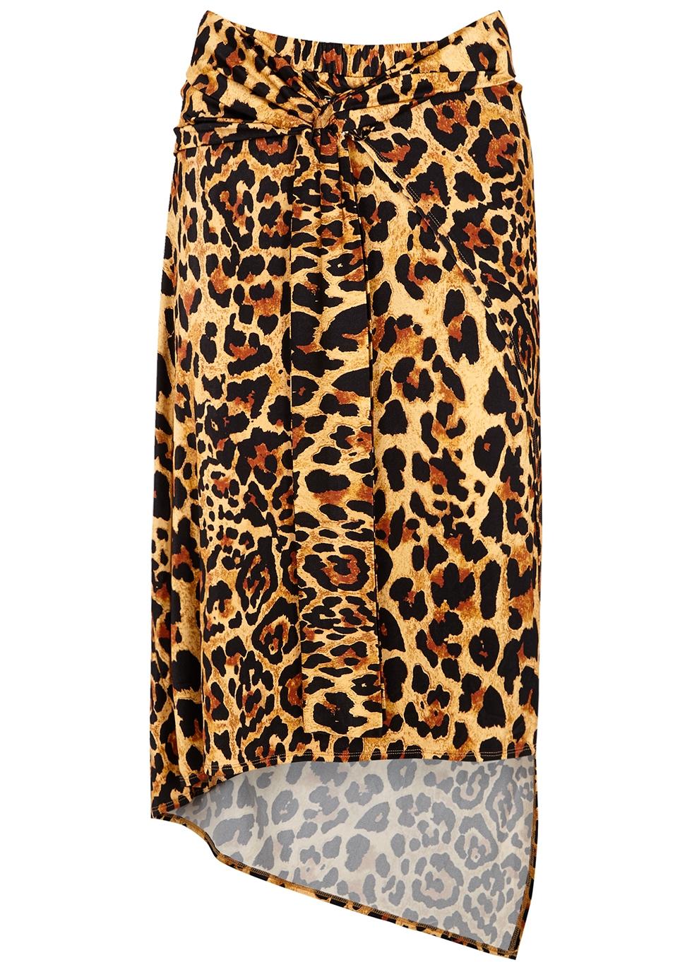 Leopard-print stretch-jersey midi skirt