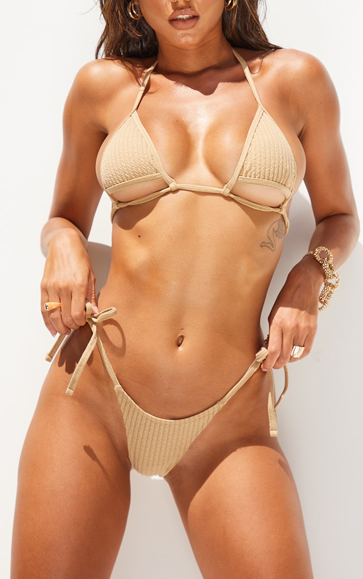 Stone Ribbed Tie Side Bikini Bottoms