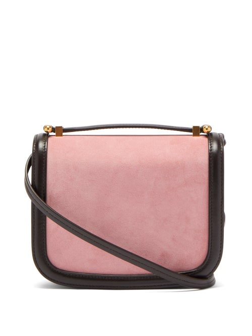 Jil Sander - Suede And Leather Cross-body Bag - Womens - Black Pink