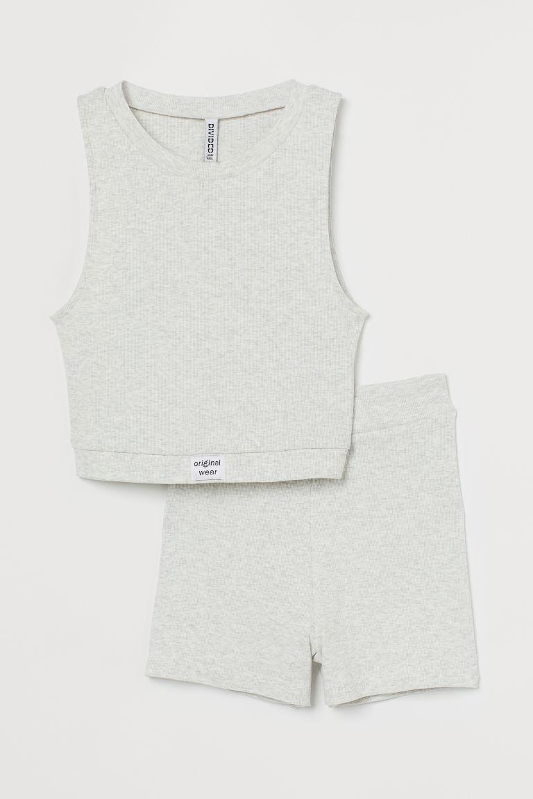 H & M - 羅紋睡衣套裝 - 灰色