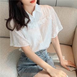 白色戀人-優雅浪漫白荷葉蕾絲緹花襯衫S-2XL
