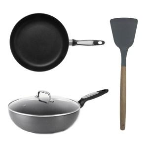 輕量不沾導磁單柄炒鍋30cm+不沾導磁深煎鍋30cm+矽膠木桿拼接炒鏟