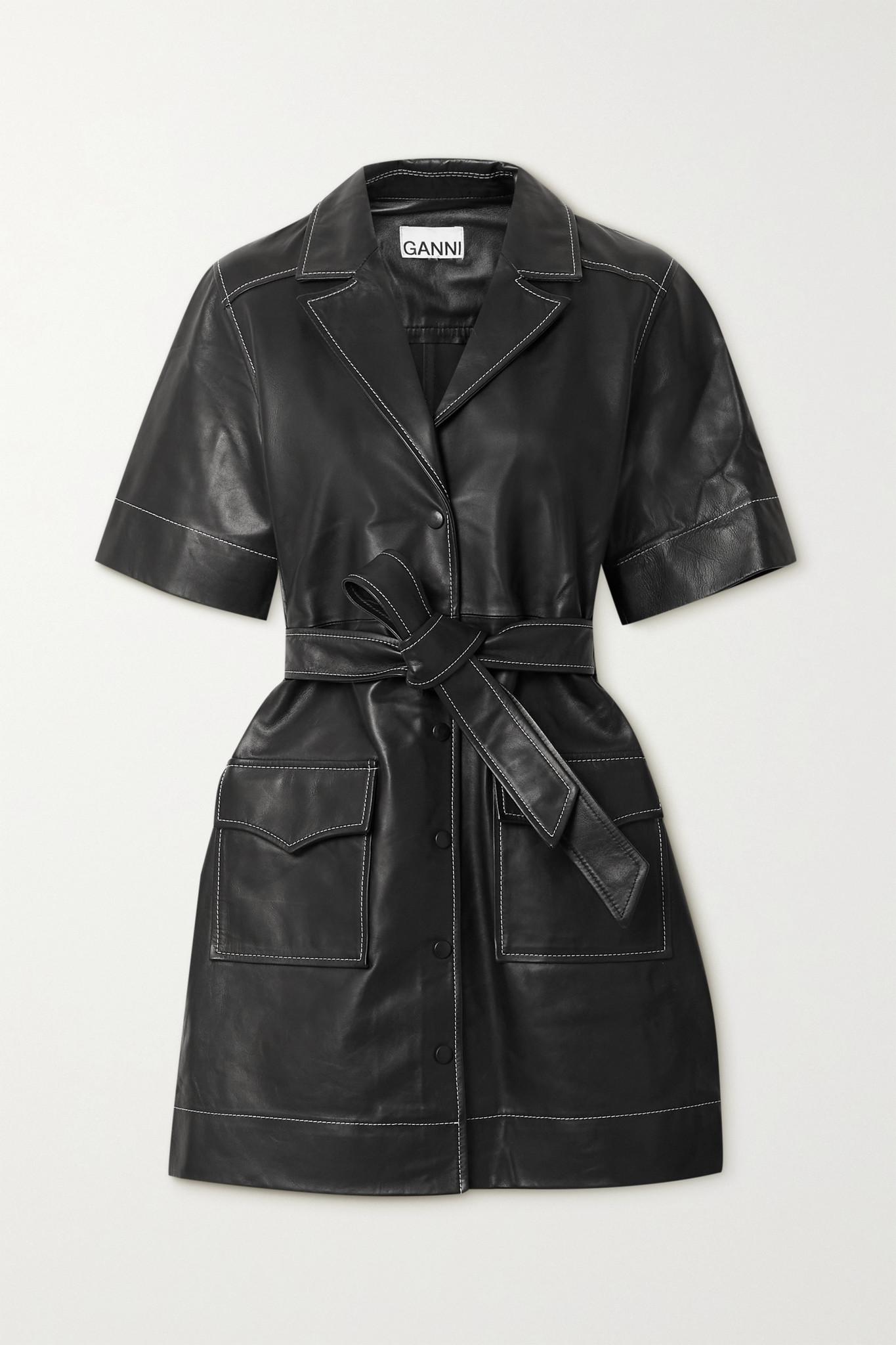 GANNI - Belted Leather Mini Dress - Black - DK38