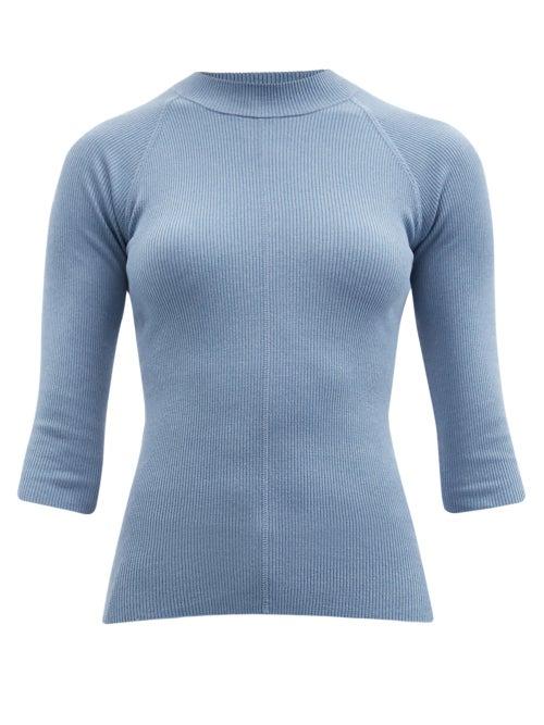 Salvatore Ferragamo - Cropped-sleeve Ribbed Silk-blend Sweater - Womens - Light Blue