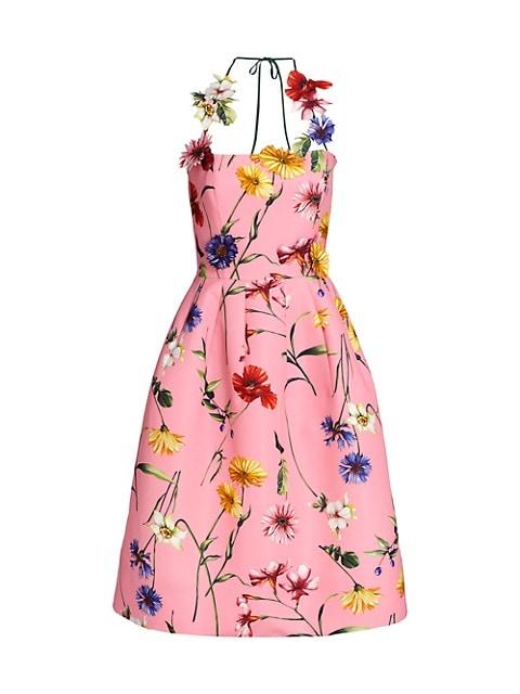 Floral-Appliqué Halter Cocktail Dress