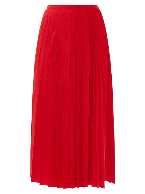 Valentino - Pleated Cotton-blend Micro-faille Skirt - Womens - Red