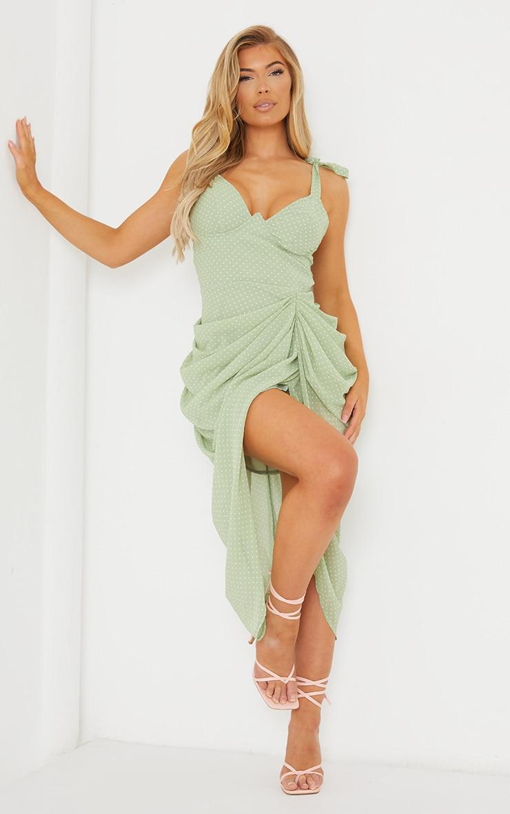 Sage Green Polka Dot Underwire Detail Draped Midi Dress