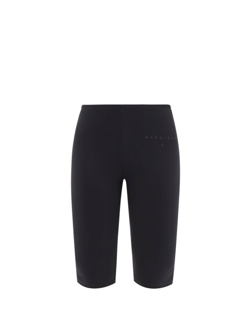 Mm6 Maison Margiela - Logo-print Jersey Cycling Shorts - Womens - Black