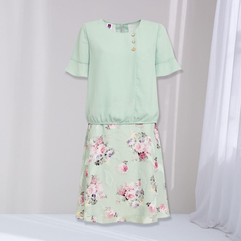 ILEY伊蕾 油畫花朵燒花雪紡假兩件洋裝(淺綠)1212087472
