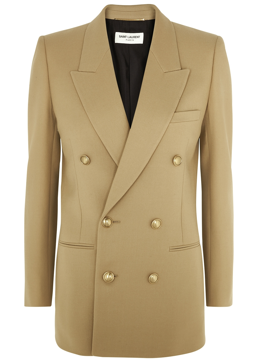 Camel double-breasted wool blazer