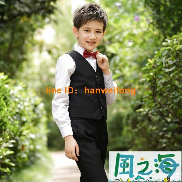 男童禮服馬甲套裝小花童男孩主持人兒童西裝鋼琴表演演出英倫西服【千尋之旅】