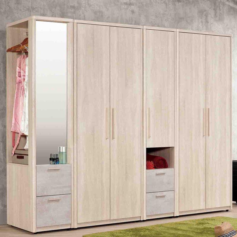 【MB557-1】漢斯8.2尺組合衣櫥(全組)