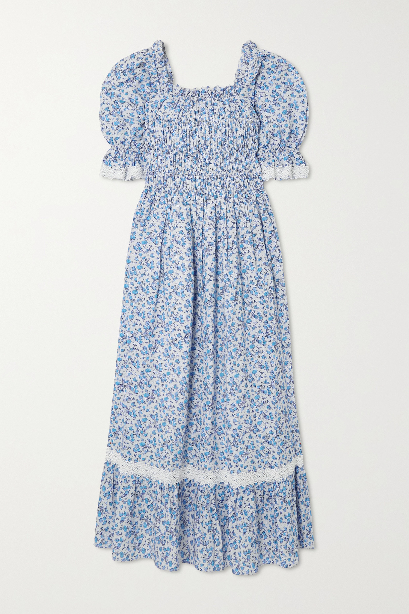 LUG VON SIGA - Elisa Smocked Ruffled Printed Cotton And Linen-blend Midi Dress - Blue - FR34