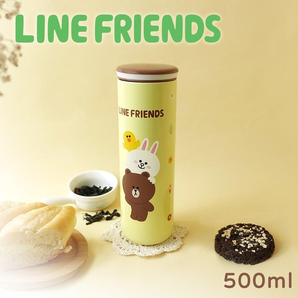 LINE FRIENDS 316不鏽鋼真空輕量保溫保冰杯500ml 布丁黃(LN-T500)