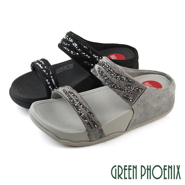 U25-21770 女款厚底拖鞋 貴氣皮絨水鑽二字帶厚底拖鞋【GREEN PHOENIX】