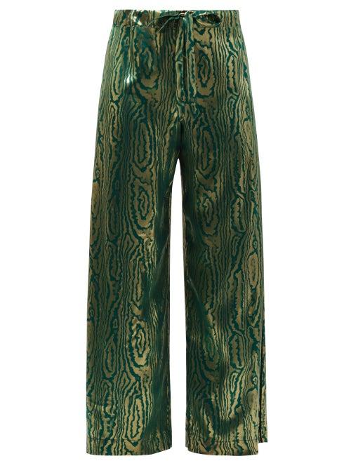 Halpern - Abstract-print Silk-satin Wide-leg Trousers - Womens - Green Gold
