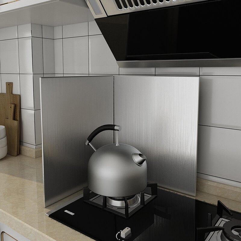 廚房防油擋板 廚房不銹鋼擋油板隔油板防油擋板加厚耐高溫煤氣灶台隔熱板可定制 【CM7574】