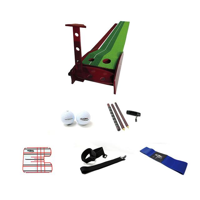 posma pg060a高級紅木高爾夫推桿練習器套組-配可拆卸4節木推桿 推桿鏡 手腳姿勢糾正器 p