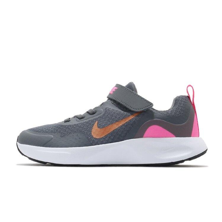 Nike WearAllDay 運動 童鞋 輕量 透氣 舒適 避震 魔鬼氈 中童 灰 粉 CJ3817006
