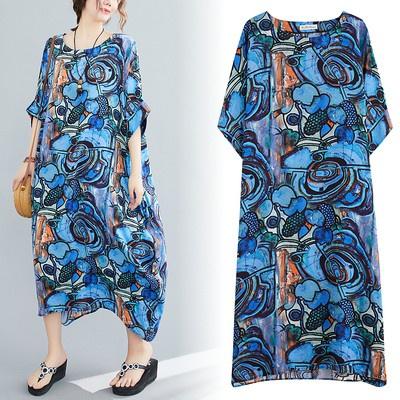 棉麻洋裝裙子6010棉質寬松顯瘦文藝遮肉連身裙花色長裙MB151-A 衣時尚