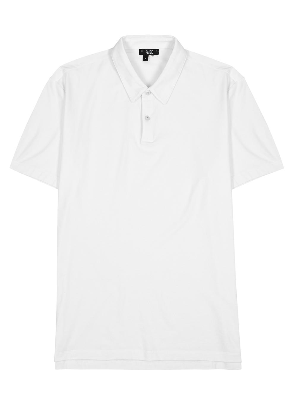 Burke white stretch-jersey polo shirt