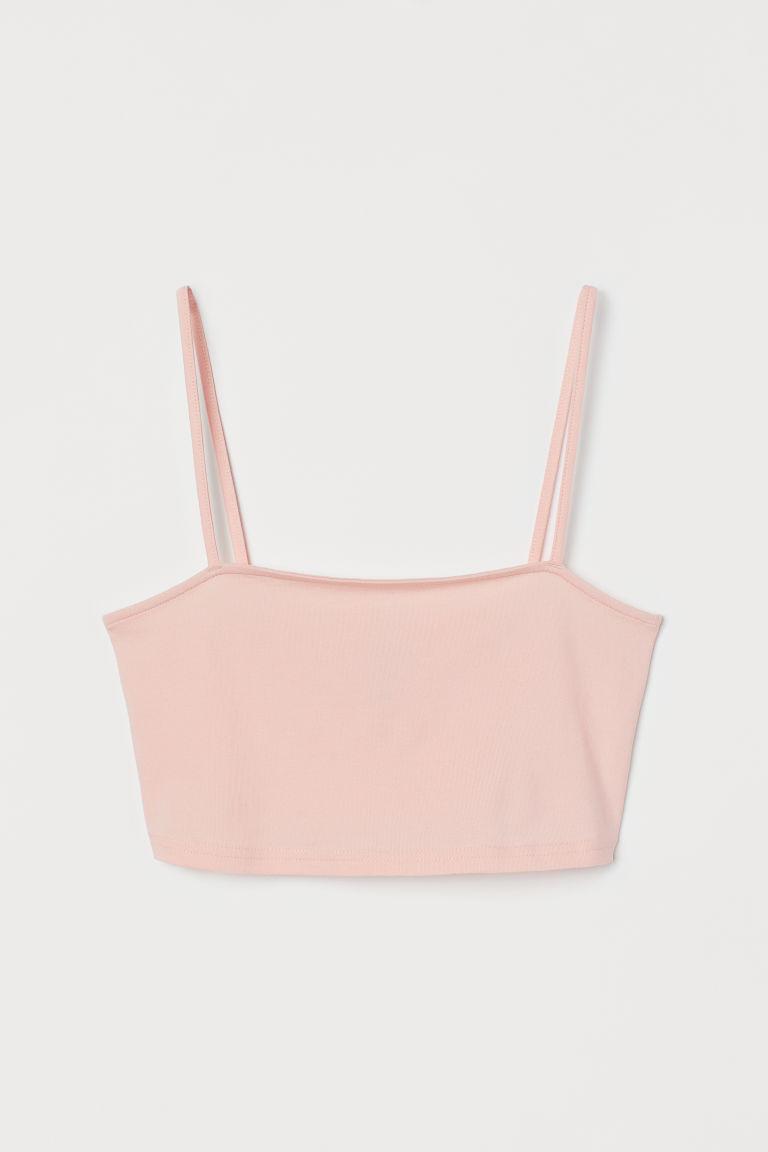 H & M - 短版平紋上衣 - 粉紅色